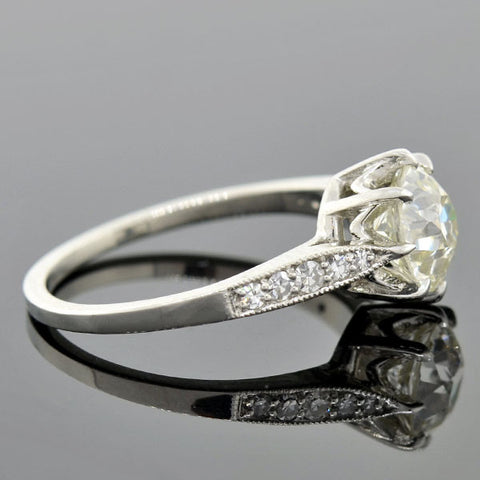 Art Deco Style Platinum Diamond Engagement Ring 1.78ct