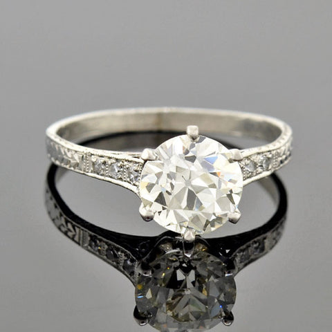 Art Deco Platinum Diamond Engagement Ring 1.78ct