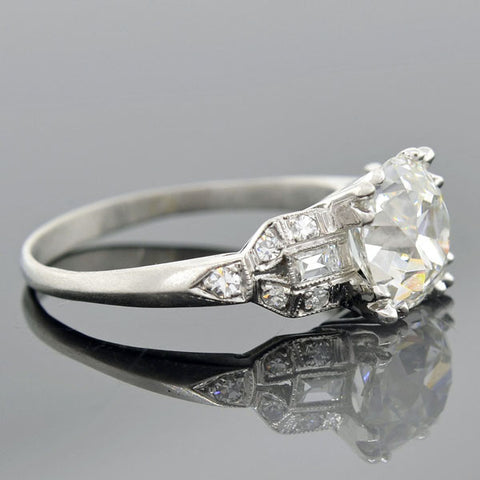 Art Deco Platinum Diamond Engagement Ring 2.15ct