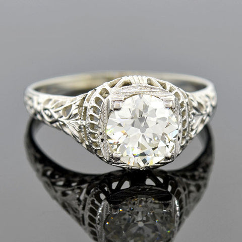 Art Deco 18kt Diamond Engagement Ring 1.22ct