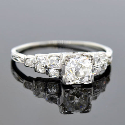 "Edwardian Platinum Mine Cut Diamond ""Step"" Engagement Ring .63ct"