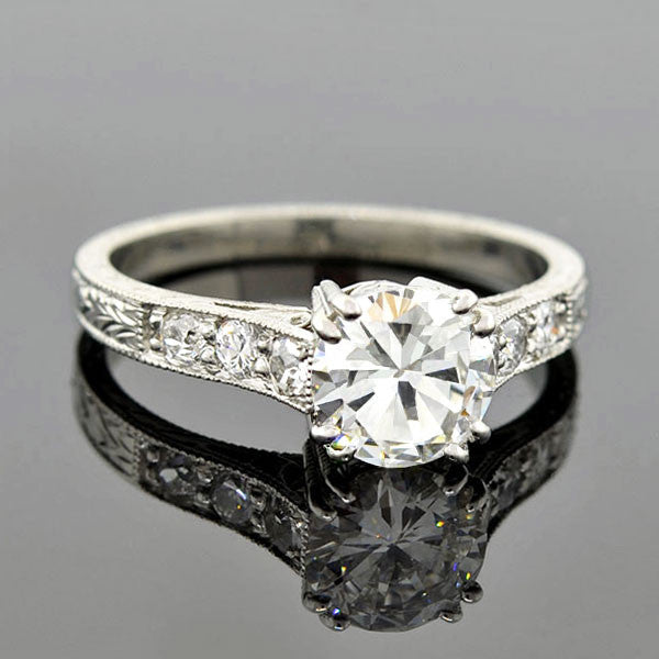 Art Deco Style Platinum Diamond Engagement Ring 1.08ct
