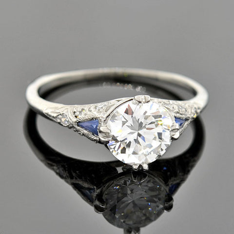 Art Deco Platinum Diamond Sapphire Engage Ring 1.20ct