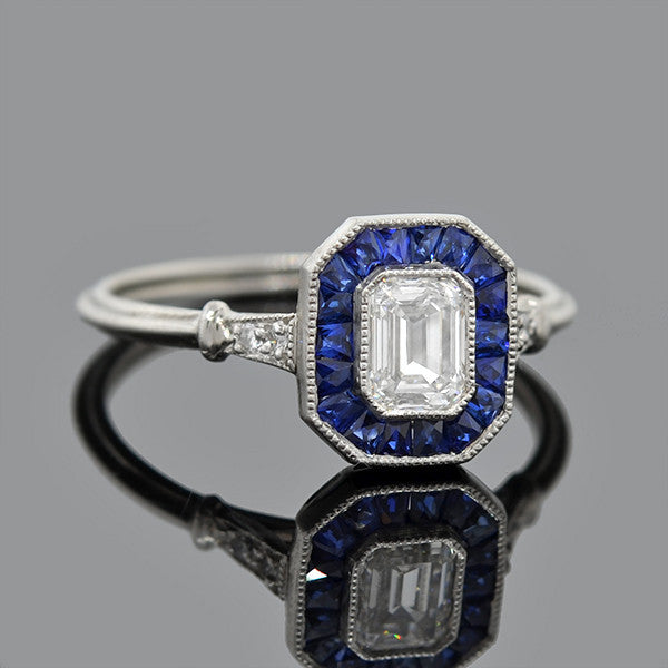 Art Deco Style Platinum Sapphire Diamond Engagement Ring .60ct
