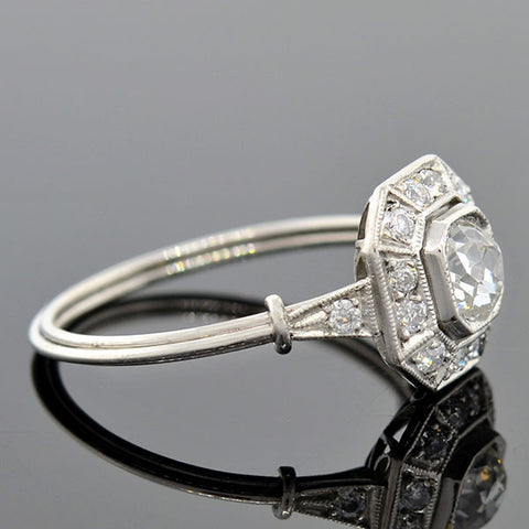 Art Deco Platinum Diamond Engagement Ring 0.56ct