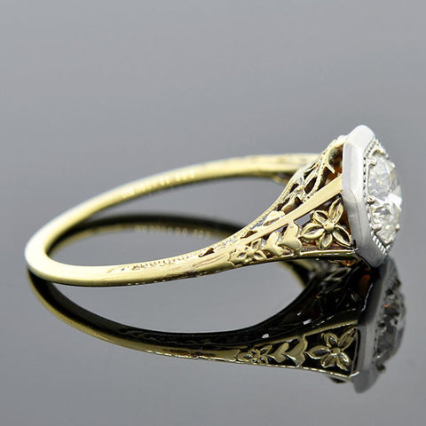 Edwardian 14kt Gold Diamond Engagement Ring 0.67ct