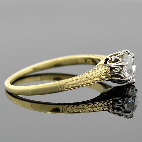 Art Deco Two Tone Diamond Engagement Ring 0.73ct