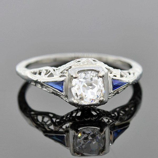 Art Deco 18kt Diamond & Sapphire Engagement Ring 0.56ct