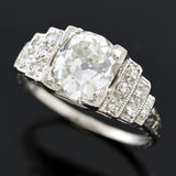 Art Deco Platinum Diamond Engagmenent Ring 2.16ct