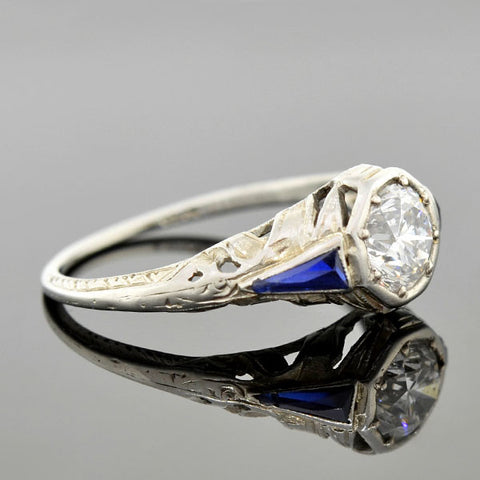 Art Deco 18kt Diamond & Sapphire Engagement Ring .82ct