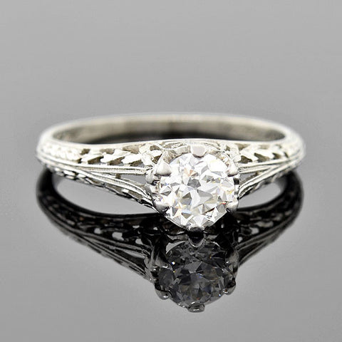 Art Deco Platinum Diamond Filigree Engagement Ring 0.58ct