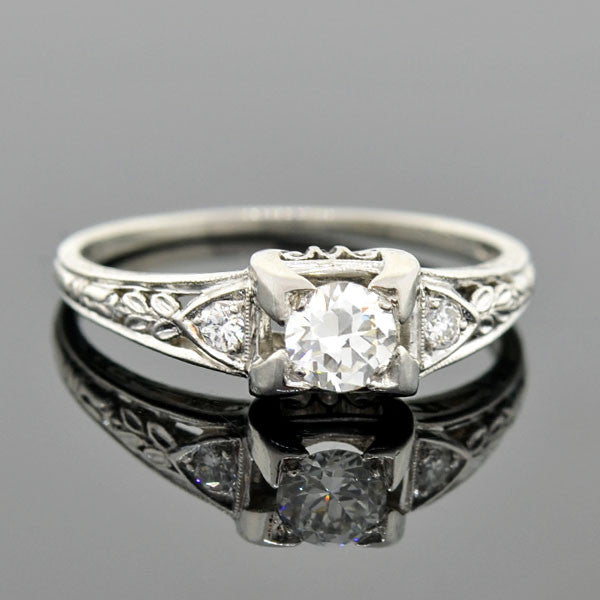 J.E. CALDWELL Art Deco Platinum Diamond Engagement Ring .35ct