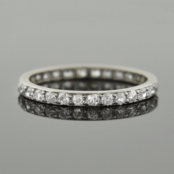 Edwardian Platinum Mine Cut Diamond Eternity Band 0.80ctw