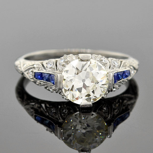 Art Deco Platinum Diamond Sapphire Engage Ring 1.37ct