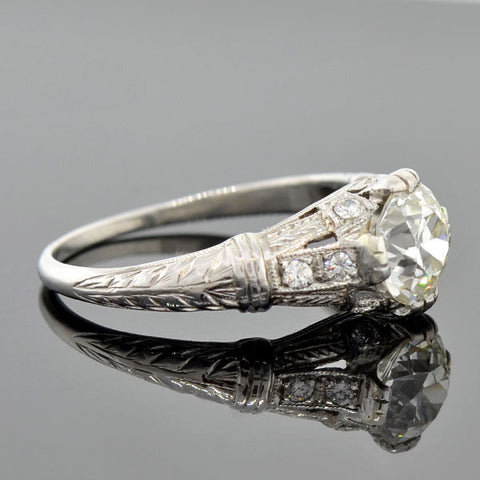 Art Deco Platinum Diamond Engagement Ring 1.16ct