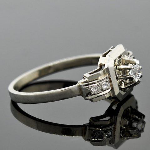 Art Deco French 18kt Diamond Engagement Ring .10ct