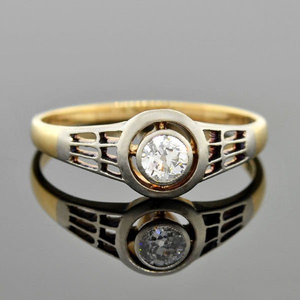 Edwardian 14kt Mixed Metals Diamond Engagement Ring 0.25ct