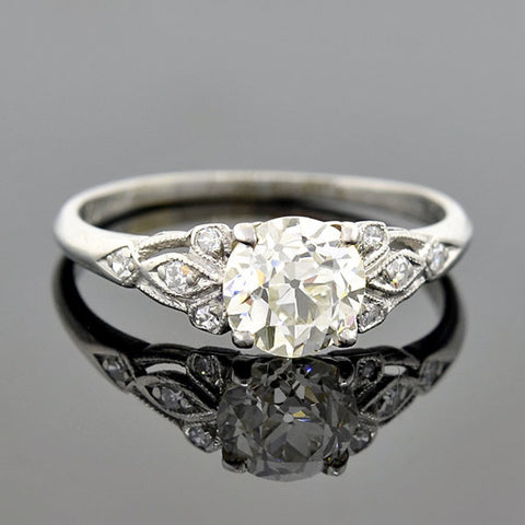 Art Deco Platinum Diamond Engagement Ring 1.19ct