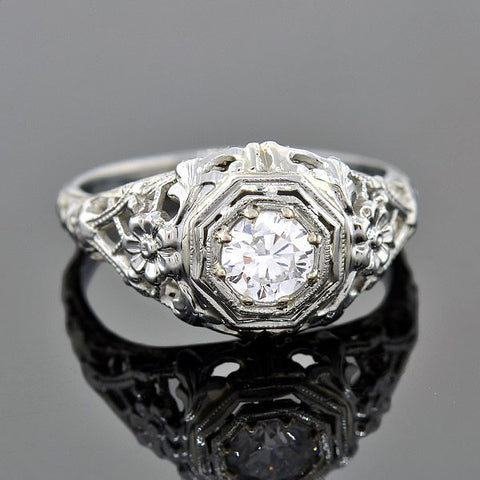 Art Deco 18kt Diamond Engagement Ring 0.40ct