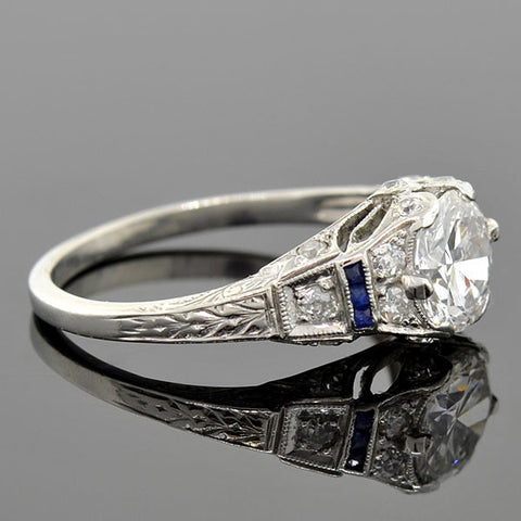 Art Deco Platinum Diamond & Sapphire Engagement Ring 1.00ct