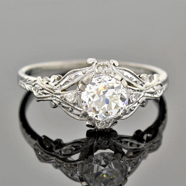 Art Deco Platinum Diamond Engagement Ring 0.76ct