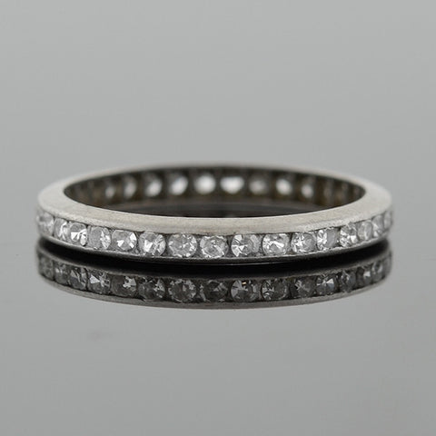 Art Deco Platinum Full Cut Diamond Eternity Band .40ctw
