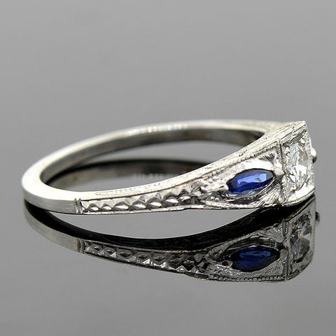 Art Deco 18kt Diamond & Sapphire Engage Ring 0.20ct