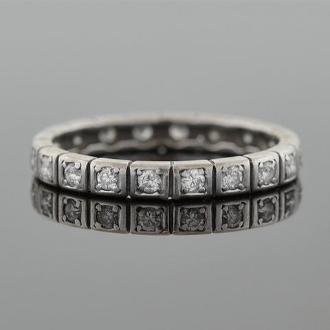 Art Deco Platinum & Diamond Square Setting Eternity Band .80ctw