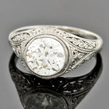 Art Deco Platinum Diamond Engagement Ring 1.64ct