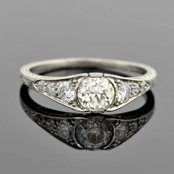 Art Deco Platinum Diamond Engagement Ring .75ct