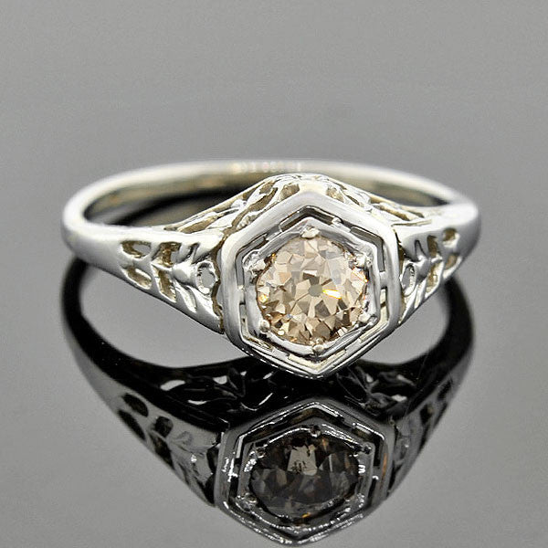 Art Deco 18kt Champagne Diamond Engagement Ring 0.50ctw