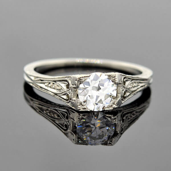 Art Deco Platinum Diamond Engagement Ring 0.68ct