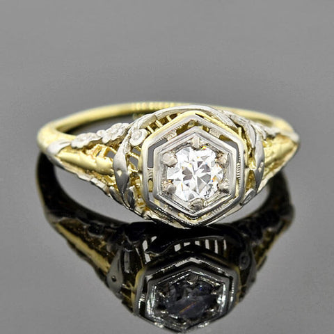 Edwardian 14kt Mixed Metals Engagement Ring 0.30ct