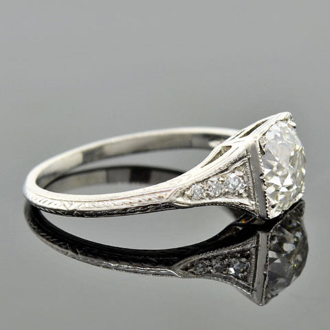 Art Deco Platinum Diamond Engagement Ring 1.61ct