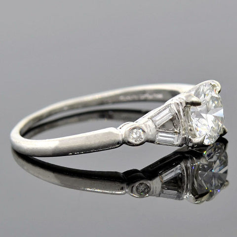 Art Deco Platinum Diamond Engagement Ring 0.91ct