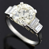 Art Deco French Platinum Diamond Engagement Ring 3.42ct