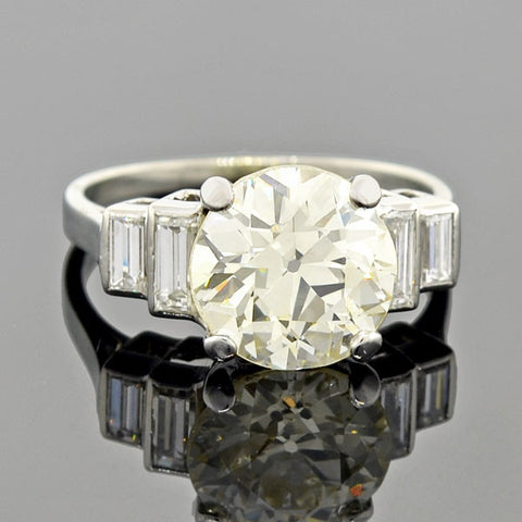 Edwardian 15kt Mixed Metals Diamond Engagement Ring 0.35ct