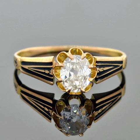 Victorian 18kt Gold Enameled Diamond Engage Ring 0.60ct