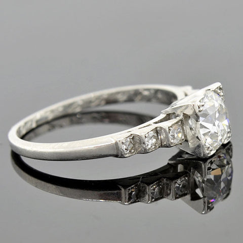 "Art Deco Platinum Diamond ""Step-Up"" Engagement Ring 0.85ct"