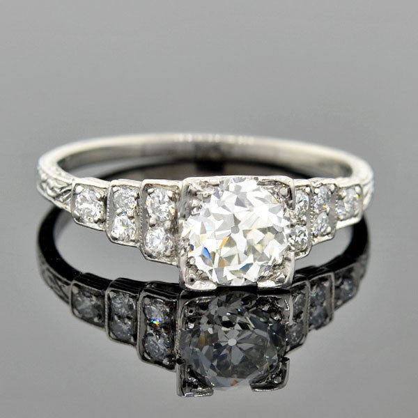"Art Deco Platinum Diamond ""Step-Up"" Engagement Ring 1.05ct"