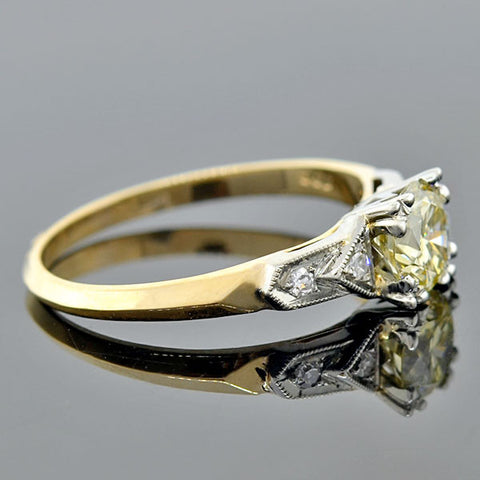 Late Deco 14kt Mixed Metals Yellow Diamond Engagement Ring 0.73ctw