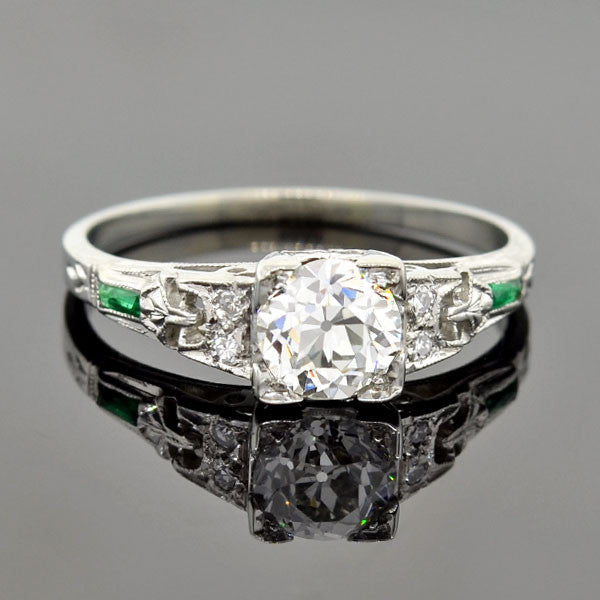 Art Deco 14kt Diamond Emerald Engagement Ring 0.77ct