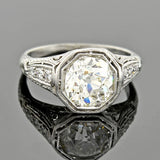 Art Deco Platinum Diamond Engagement Ring 2.40ct