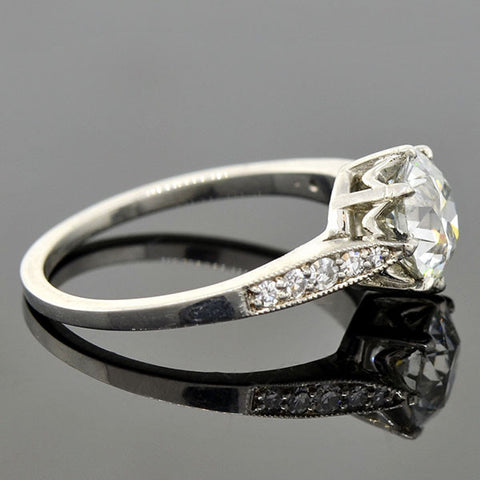 Art Deco Style Platinum Diamond Engagement Ring 1.68ct