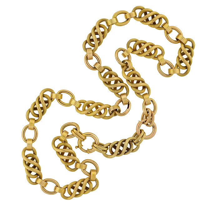 Victorian Fancy 14kt Gold Woven Chain Link Necklace 22""