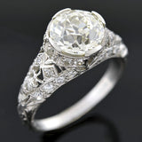 Art Deco Platinum Filgree Diamond Engagement Ring 2.18ct