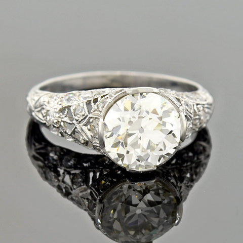 Art Deco Platinum Filgree Diamond Engagement Ring 1.90ct