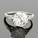 Art Deco Style 18kt Diamond Engagement Ring 3.01ct