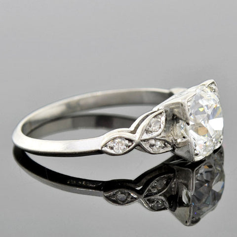 Art Deco Platinum Diamond Petal Motif Engagement Ring 1.28ct