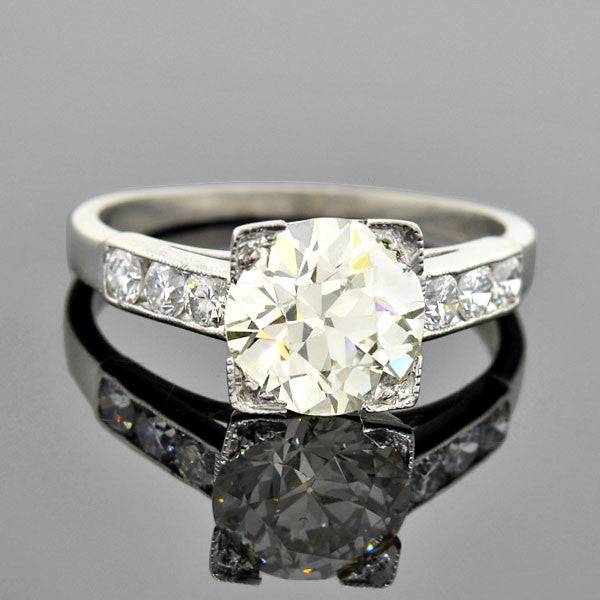 Art Deco Platinum Diamond Engagement Ring 1.95ct